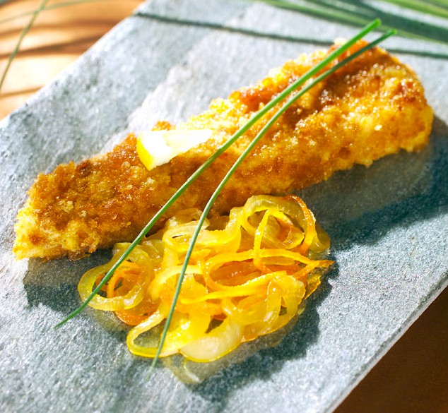 Breaded Sea Bass with Onion and Citrus Confit